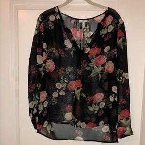 Joie Silk Black Flowered Top